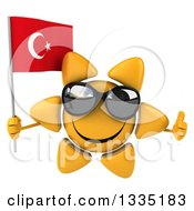 Clipart Of A 3d Happy Sun Character Wearing Shades Giving A Thumb Up And Holding A Turkish Flag Royalty Free Illustration