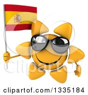 Clipart Of A 3d Happy Sun Character Wearing Shades And Holding A Spanish Flag Royalty Free Illustration