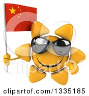 Clipart Of A 3d Happy Sun Character Wearing Shades Holding And Pointing To A Chinese Flag Royalty Free Illustration
