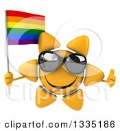 Clipart Of A 3d Happy Sun Character Wearing Shades Giving A Thumb Up And Holding A Rainbow Flag Royalty Free Illustration