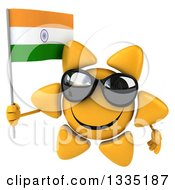 Clipart Of A 3d Happy Sun Character Wearing Shades And Holding An Indian Flag Royalty Free Illustration