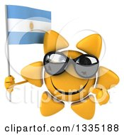 Clipart Of A 3d Happy Sun Character Wearing Shades Holding And Pointing To An Argentine Flag Royalty Free Illustration
