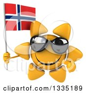 Clipart Of A 3d Happy Sun Character Wearing Shades Holding And Pointing To A Norwegian Flag Royalty Free Illustration