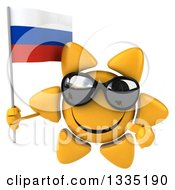 Clipart Of A 3d Happy Sun Character Wearing Shades Holding And Pointing To A Russian Flag Royalty Free Illustration