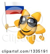 Clipart Of A 3d Happy Sun Character Wearing Shades Facing Slightly Left And Holding A Russian Flag Royalty Free Illustration