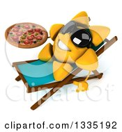 Clipart Of A 3d Happy Sun Character Wearing Shades Sitting In A Chair And Holding A Pizza Royalty Free Illustration