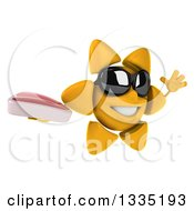 Clipart Of A 3d Happy Sun Character Wearing Shades Facing Slightly Right Jumping And Holding A Beef Steak Royalty Free Illustration