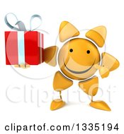 Clipart Of A 3d Happy Sun Character Holding And Pointing To A Gift Royalty Free Illustration by Julos
