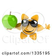 Clipart Of A 3d Happy Sun Character Wearing Sunglasses Jumping And Holding A Green Apple Royalty Free Illustration