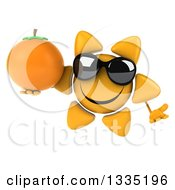 Clipart Of A 3d Happy Sun Character Wearing Sunglasses Shrugging And Holding A Navel Orange Royalty Free Illustration by Julos