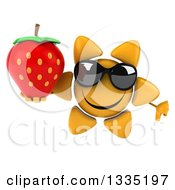 Clipart Of A 3d Happy Sun Character Wearing Sunglasses Giving A Thumb Down And Holding A Strawberry Royalty Free Illustration by Julos