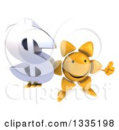 Clipart Of A 3d Happy Sun Character Holding Up A Thumb And A Dollar Currency Symbol Royalty Free Illustration by Julos