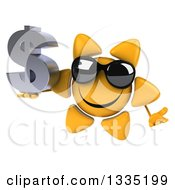 Clipart Of A 3d Happy Sun Character Wearing Shades Shrugging And Holding A Dollar Currency Symbol Royalty Free Illustration by Julos