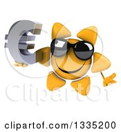 Clipart Of A 3d Happy Sun Character Wearing Shades Shrugging And Holding A Euro Currency Symbol Royalty Free Illustration by Julos
