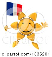 Clipart Of A 3d Happy Sun Character Jumping And Holding A French Flag Royalty Free Illustration by Julos