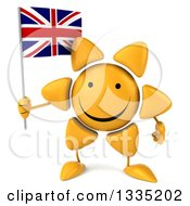 Clipart Of A 3d Happy Sun Character Holding A British Union Jack Flag Royalty Free Illustration by Julos