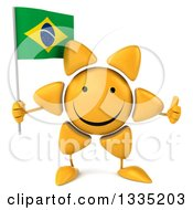 Clipart Of A 3d Happy Sun Character Giving A Thumb Up And Holding A Brazilian Flag Royalty Free Illustration by Julos