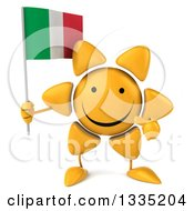 Clipart Of A 3d Happy Sun Character Holding And Pointing To An Italian Flag Royalty Free Illustration by Julos