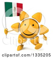 Clipart Of A 3d Happy Sun Character Walking And Holding A Mexican Flag Royalty Free Illustration by Julos