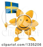 Clipart Of A 3d Happy Sun Character Holding And Pointing To A Swedish Flag Royalty Free Illustration by Julos