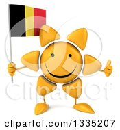 Clipart Of A 3d Happy Sun Character Giving A Thumb Up And Holding A Belgian Flag Royalty Free Illustration by Julos