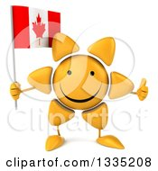 Clipart Of A 3d Happy Sun Character Giving A Thumb Up And Holding A Canadian Flag Royalty Free Illustration by Julos