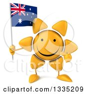 Clipart Of A 3d Happy Sun Character Holding And Pointing To An Australian Flag Royalty Free Illustration by Julos