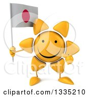 Clipart Of A 3d Happy Sun Character Holding And Pointing To A Japanese Flag Royalty Free Illustration by Julos