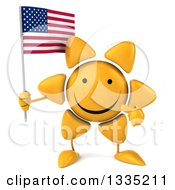 Clipart Of A 3d Happy Sun Character Holding And Pointing To An American Flag Royalty Free Illustration by Julos