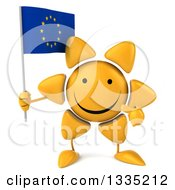 Clipart Of A 3d Happy Sun Character Holding And Pointing To A European Flag Royalty Free Illustration by Julos