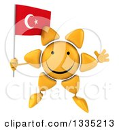 Clipart Of A 3d Happy Sun Character Jumping And Holding A Turkish Flag Royalty Free Illustration