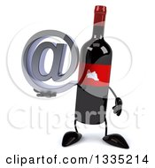 3d Wine Bottle Mascot Holding An Email Arobase At Symbol