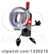Clipart Of A 3d Wine Bottle Mascot Facing Slightly Right Jumping And Holding An Email Arobase At Symbol Royalty Free Illustration