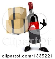 Clipart Of A 3d Wine Bottle Mascot Holding Up A Finger And Boxes Royalty Free Illustration
