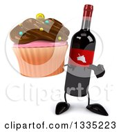 Clipart Of A 3d Wine Bottle Mascot Holding And Pointing To A Chocolate Frosted Cupcake Royalty Free Illustration
