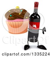 Clipart Of A 3d Wine Bottle Mascot Giving A Thumb Down And Holding A Chocolate Frosted Cupcake Royalty Free Illustration