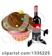 Clipart Of A 3d Wine Bottle Mascot Holding Up A Thumb Down And A Chocolate Frosted Cupcake Royalty Free Illustration