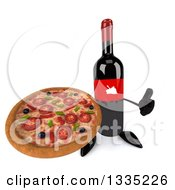 Clipart Of A 3d Wine Bottle Mascot Holding Up A Thumb And A Pizza Royalty Free Illustration