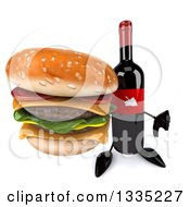 Clipart Of A 3d Wine Bottle Mascot Holding Up A Thumb Down And A Double Cheeseburger Royalty Free Illustration