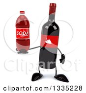 Clipart Of A 3d Wine Bottle Mascot Holding A Soda Bottle Royalty Free Illustration