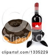 Clipart Of A 3d Wine Bottle Mascot Holding Up A Chocolate Glazed Donut Royalty Free Illustration