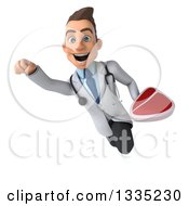 Clipart Of A 3d Young White Male Nutritionist Doctor Holding A Beef Steak And Flying Royalty Free Illustration