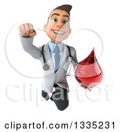 Clipart Of A 3d Young Brunette White Male Phlebotomist Doctor Flying And Holding A Blood Drop Royalty Free Illustration