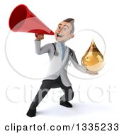 Clipart Of A 3d Young Brunette White Male Doctor Holding An Amber Medicine Droplet And Announcing To The Left With A Megaphone Royalty Free Illustration by Julos