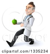Clipart Of A 3d Young Brunette White Male Nutritionist Doctor Speed Walking Slightly To The Left And Holding A Green Apple Royalty Free Illustration by Julos