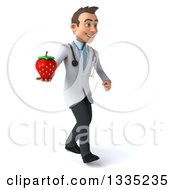 Clipart Of A 3d Young Brunette White Male Nutritionist Doctor Walking Slightly Right And Holding A Strawberry Royalty Free Illustration by Julos