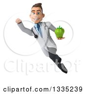 Clipart Of A 3d Young White Male Nutritionist Doctor Flying And Holding A Green Bell Pepper Royalty Free Illustration