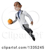 Clipart Of A 3d Young Black Male Nutritionist Doctor Flying And Holding A Navel Orange Royalty Free Illustration