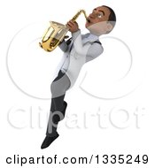 Clipart Of A 3d Young Black Male Doctor Flying With A Saxophone 2 Royalty Free Illustration