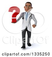 Clipart Of A 3d Young Black Male Doctor Holding A Question Mark And Walking Royalty Free Illustration